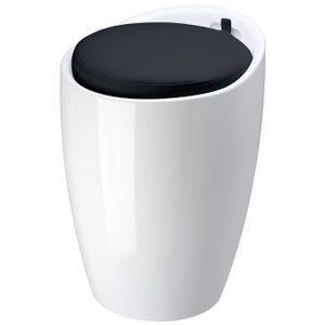 POUF - POIRE Pouf pop blanc en abs avec coussin noir  36x51cm
