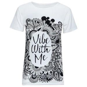 T-SHIRT Femme Eté T-shirt Imprimé Décontracté blanc XXL...