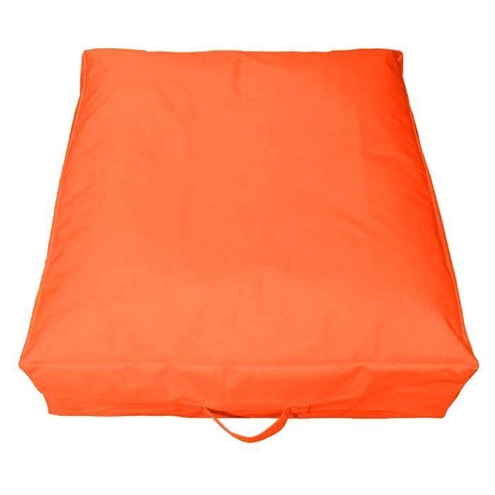 Maxi coussin carr 70 cm orange sp cial ext rieur - Coussin polyester exterieur ...