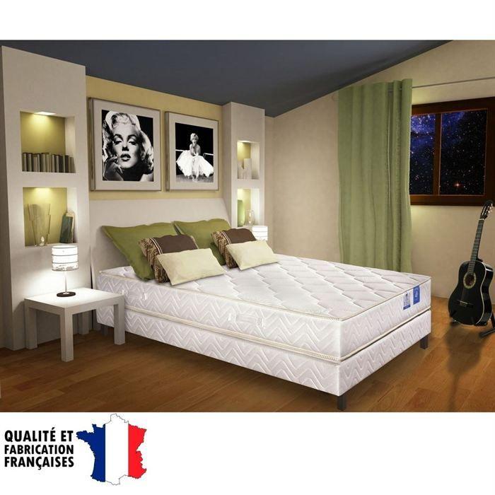 benoist belle literie ensemble matelas sommier 160x200cm 19cm mousse hr quilibr 35kg m. Black Bedroom Furniture Sets. Home Design Ideas