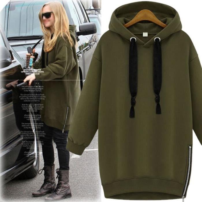femme mode sweat zipp capuche hoodie slim manche longue surv tements 2015 casual manteau arm e. Black Bedroom Furniture Sets. Home Design Ideas