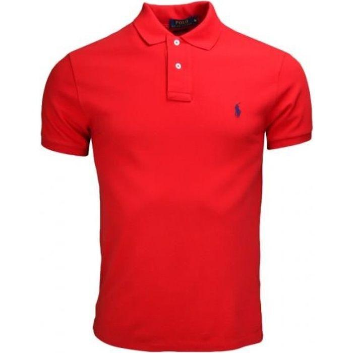 polo ralph lauren slim fit 2 boutons pour homme rouge rouge achat vente polo soldes. Black Bedroom Furniture Sets. Home Design Ideas