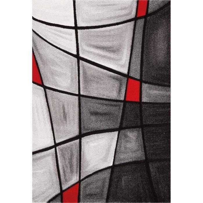 brillance tapis de salon 160x230 cm rouge noir et gris