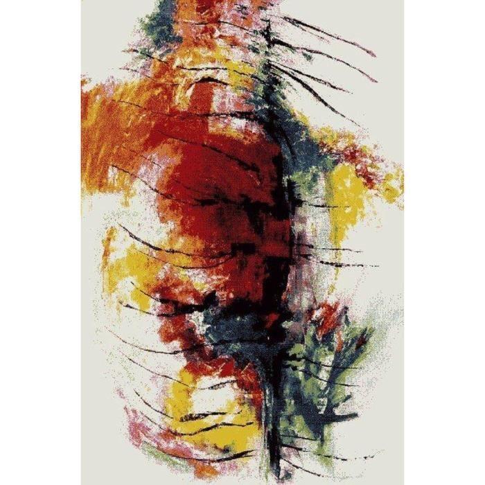 Rio tapis de salon 160x230 cm rouge noir et blanc achat for Salon blanc noir et rouge