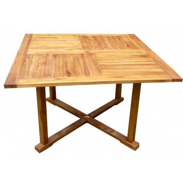 Table en teck huil pour le jardin plateau carr 120 cm for Plateau pour table de jardin