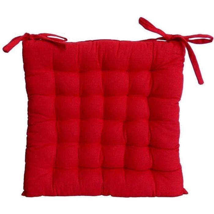 Galette de chaise 40x40x4 cm rouge achat vente coussin for Galette de chaise 50x50
