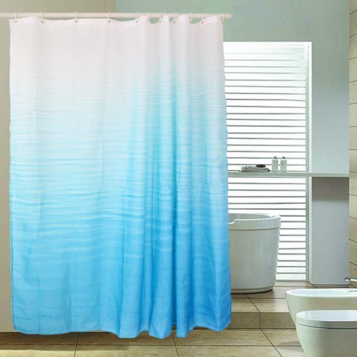 rideau de douche 100 polyester rideau de salle de pain etanche avec 12 anneaux azur achat. Black Bedroom Furniture Sets. Home Design Ideas