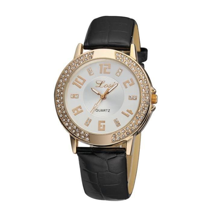femmes pu cuir montre femme l gante strass cristal bracelets noir achat vente montre femmes. Black Bedroom Furniture Sets. Home Design Ideas
