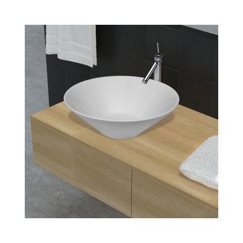 Vasque de salle de bains c ramique blanc forme de bol for Vasque ceramique salle de bain