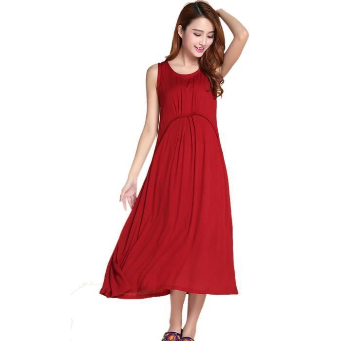 eozy sexy femme robe de soir e longue tenue cocktail c r monie col rond sans manche rouge. Black Bedroom Furniture Sets. Home Design Ideas
