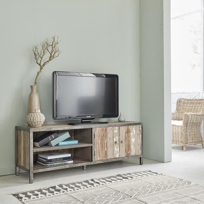 Meuble tv en pin recycl et m tal largeur 150 cm 2 for Meuble mural en pin
