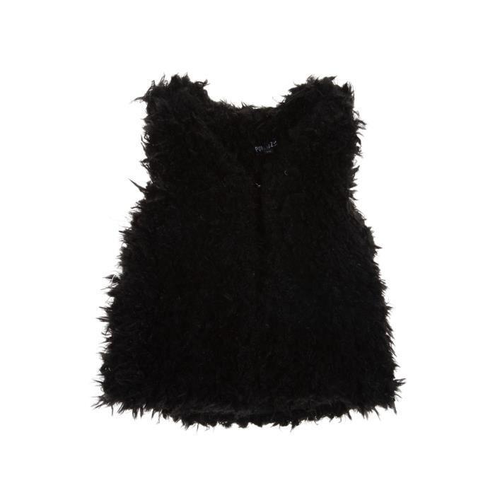 gilet sans manches fourrure imit noir noir achat. Black Bedroom Furniture Sets. Home Design Ideas