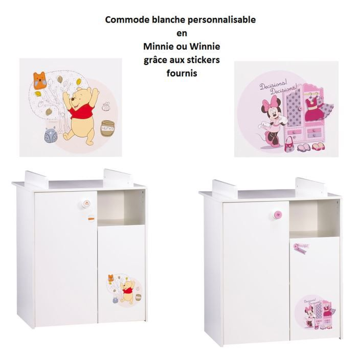 disney commode blanche personnalisable blanc achat. Black Bedroom Furniture Sets. Home Design Ideas