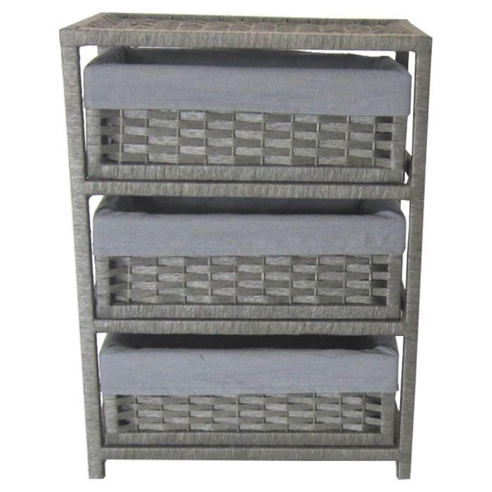 Meuble de rangement 3 paniers tiroirs gris achat vente - Meuble tiroir panier ...