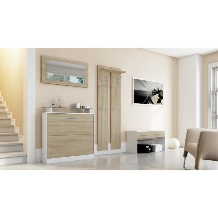 Ensemble de meubles d entr e blanc et bois brut achat for Ensemble meuble entree