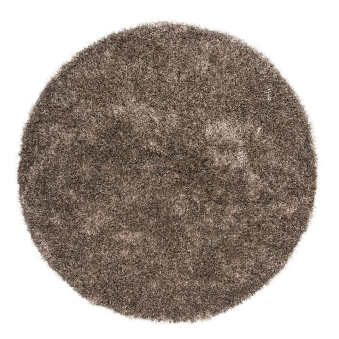 tapis shaggy uni taupe 35 mm 160x160 cm rond achat vente tapis cdiscount. Black Bedroom Furniture Sets. Home Design Ideas