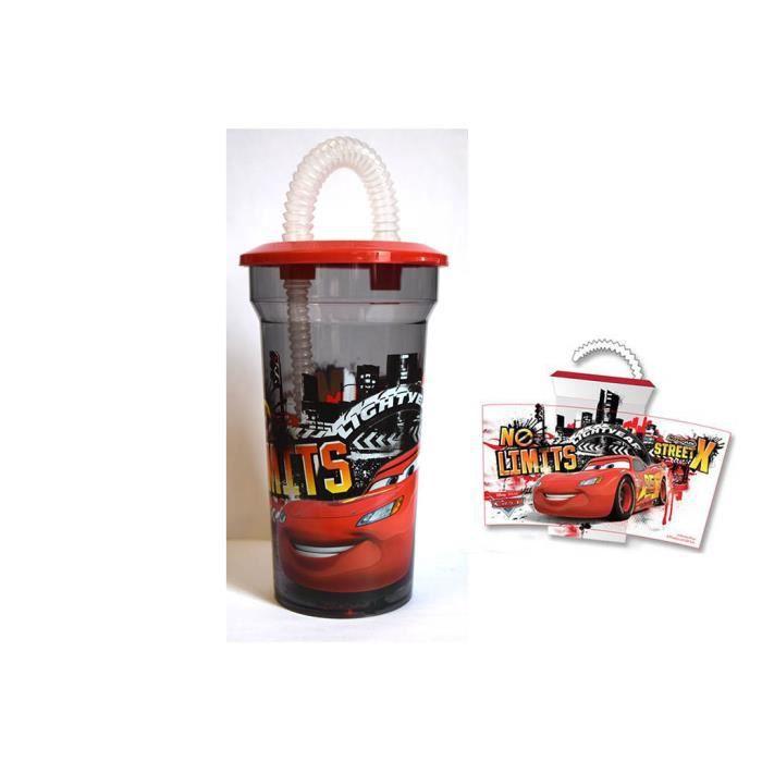 verre avec couvercle et paille cars disney officiel achat vente verre eau soda cdiscount. Black Bedroom Furniture Sets. Home Design Ideas