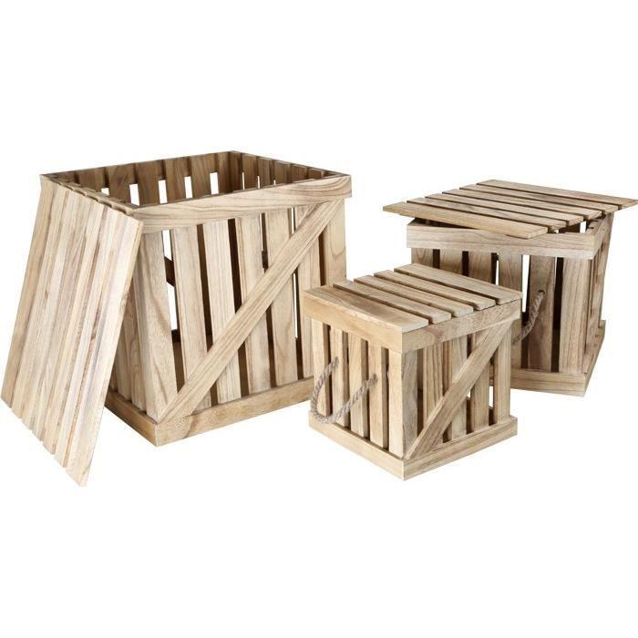 caisses en bois avec couvercle par 3 design rangement decoration achat vente armoire boite. Black Bedroom Furniture Sets. Home Design Ideas