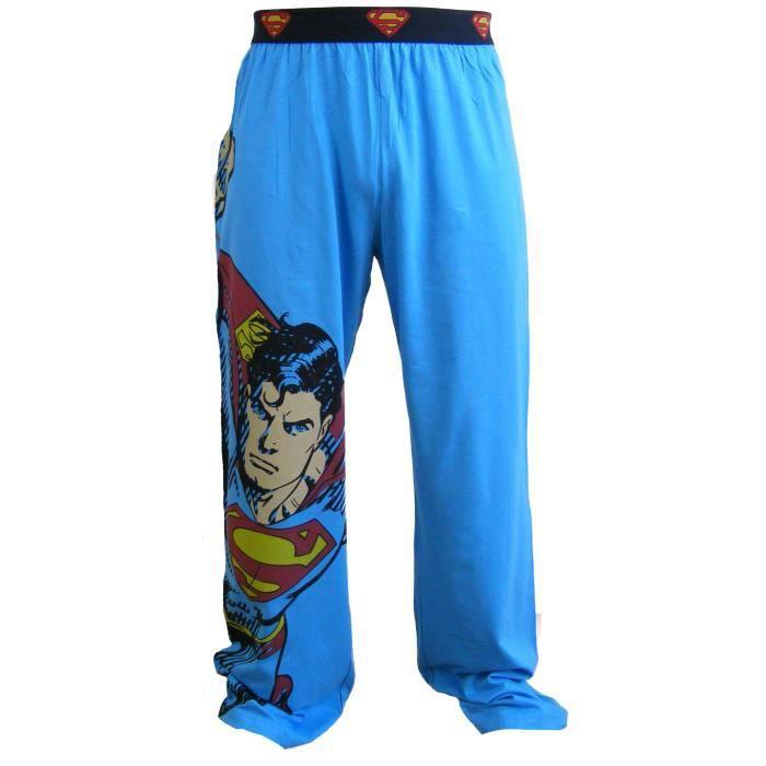 bas de pyjama motif superman homme bleu achat. Black Bedroom Furniture Sets. Home Design Ideas