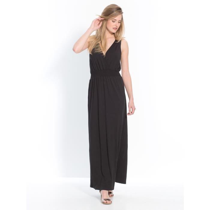 robe longue fluide stretch grande stature noir achat. Black Bedroom Furniture Sets. Home Design Ideas