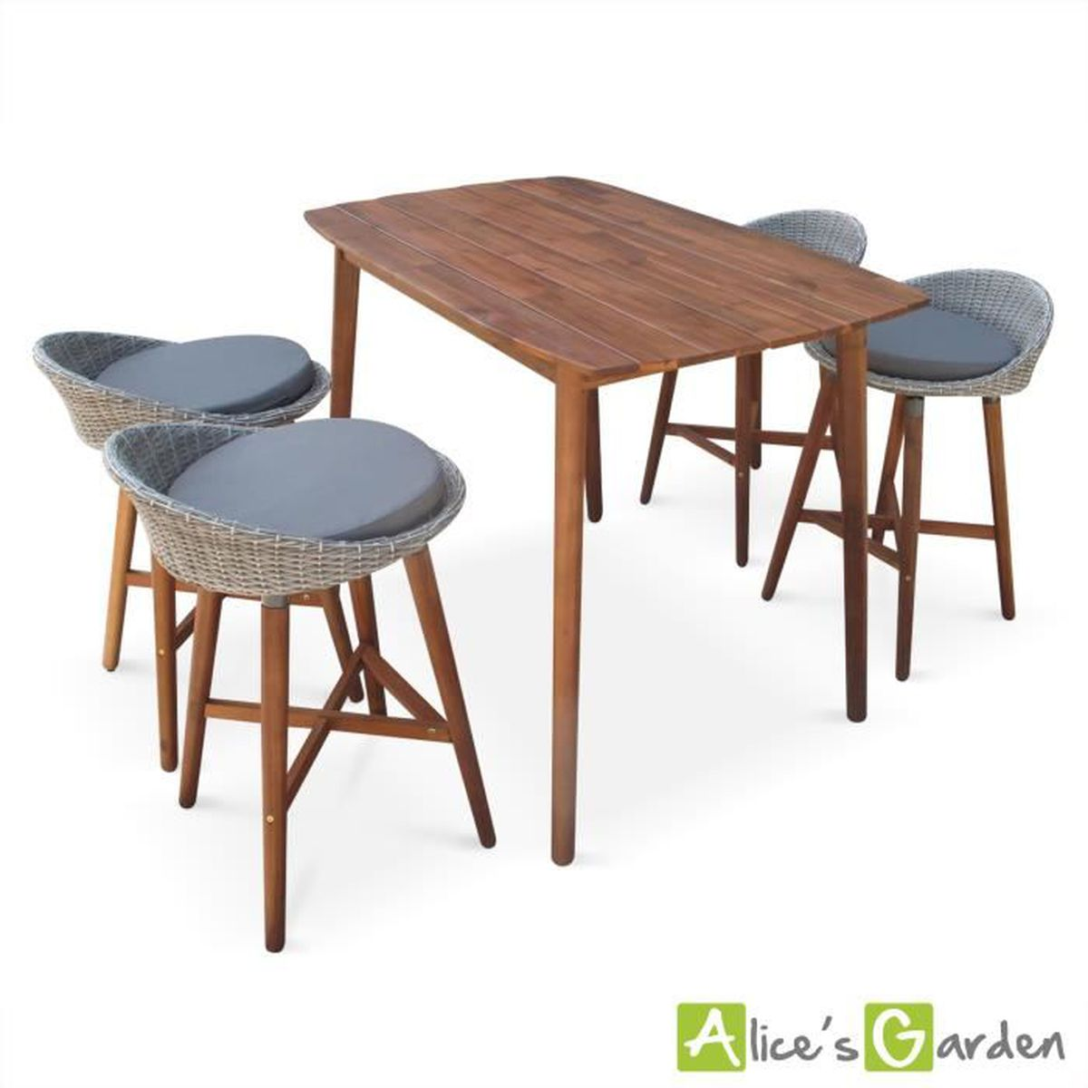 ensemble bar mallorca en bois fsc et resine tressee arrondie 4 tabourets et 1 table haute. Black Bedroom Furniture Sets. Home Design Ideas