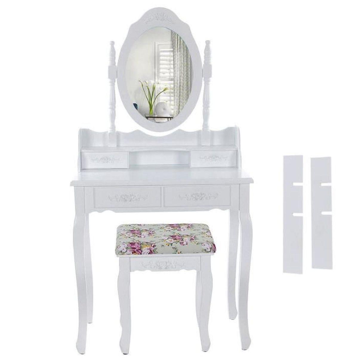 4 tiroirs blanc coiffeuse table de maquillage avec for Modele de coiffeuse de chambre