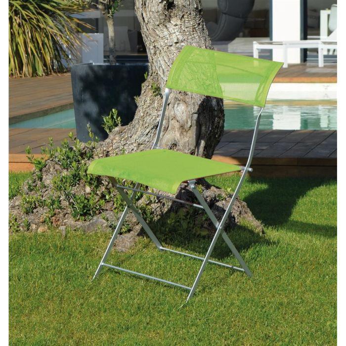 Monaco lot de 2 chaises en acier vert anis achat vente fauteuil jardin lo - Chaise jardin vert anis ...