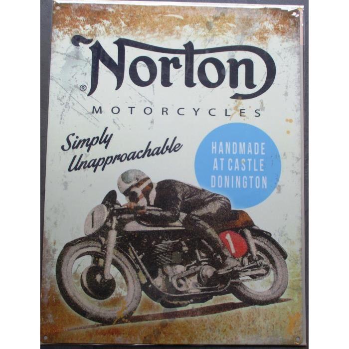 plaque pub norton simply unapprochable moto achat vente objet d coration murale cdiscount. Black Bedroom Furniture Sets. Home Design Ideas