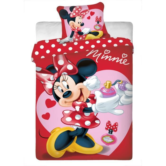 parure de lit minnie disney parfum 100 coton achat. Black Bedroom Furniture Sets. Home Design Ideas