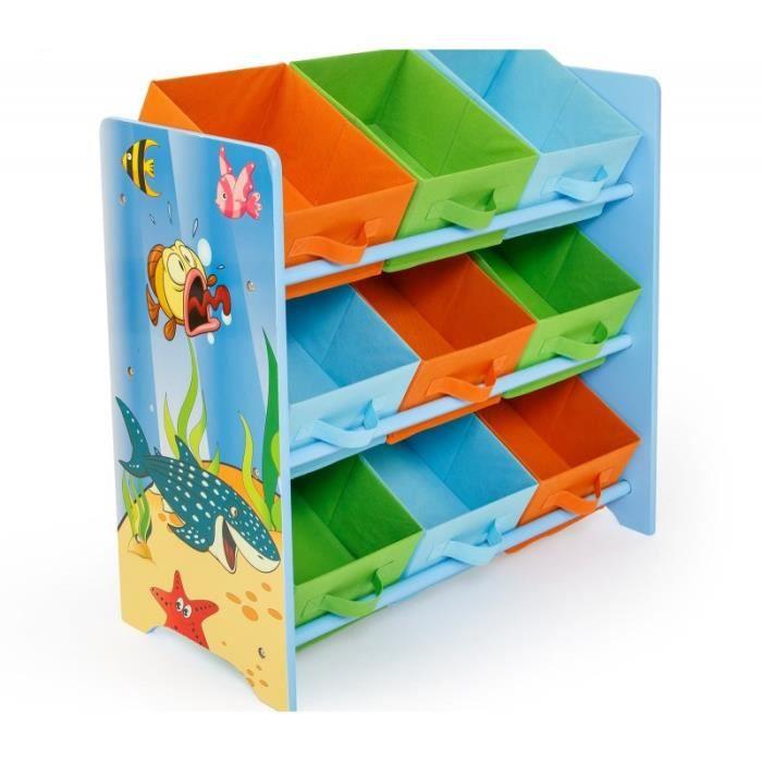 meuble de rangement tag re jouet panier chambre enfant motif mer ape06026 achat vente. Black Bedroom Furniture Sets. Home Design Ideas