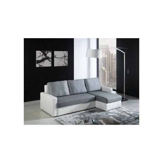 canap angle convertible mathis gris blanc droit achat. Black Bedroom Furniture Sets. Home Design Ideas