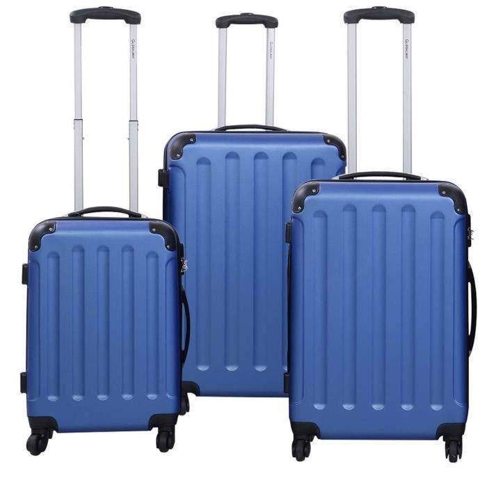 set de 3 valises de voyage trolley avec roulettes 360 bleu achat vente set de valises. Black Bedroom Furniture Sets. Home Design Ideas