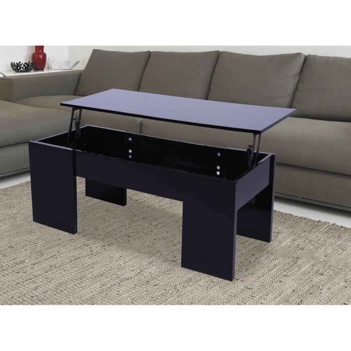 Table Basse Avec Le Plateau Relevable Maria Noir Laqu