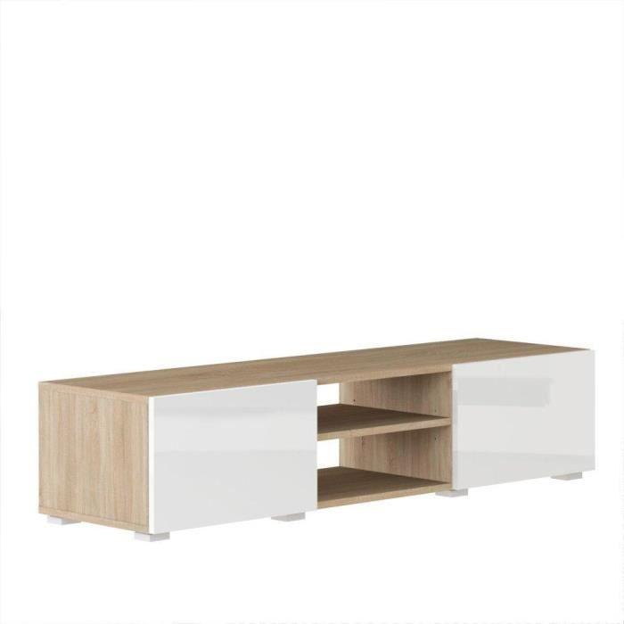 atlantic meuble tv couleur blanc et ch ne bard achat. Black Bedroom Furniture Sets. Home Design Ideas