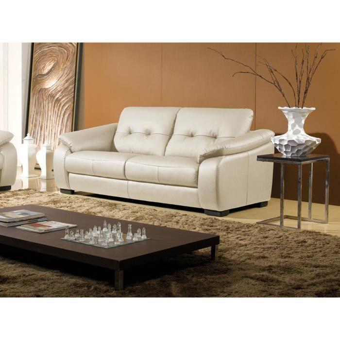 Canap en cuir 3 places beige lila achat vente canap sofa divan cdiscount - Canape cuir beige 3 places ...