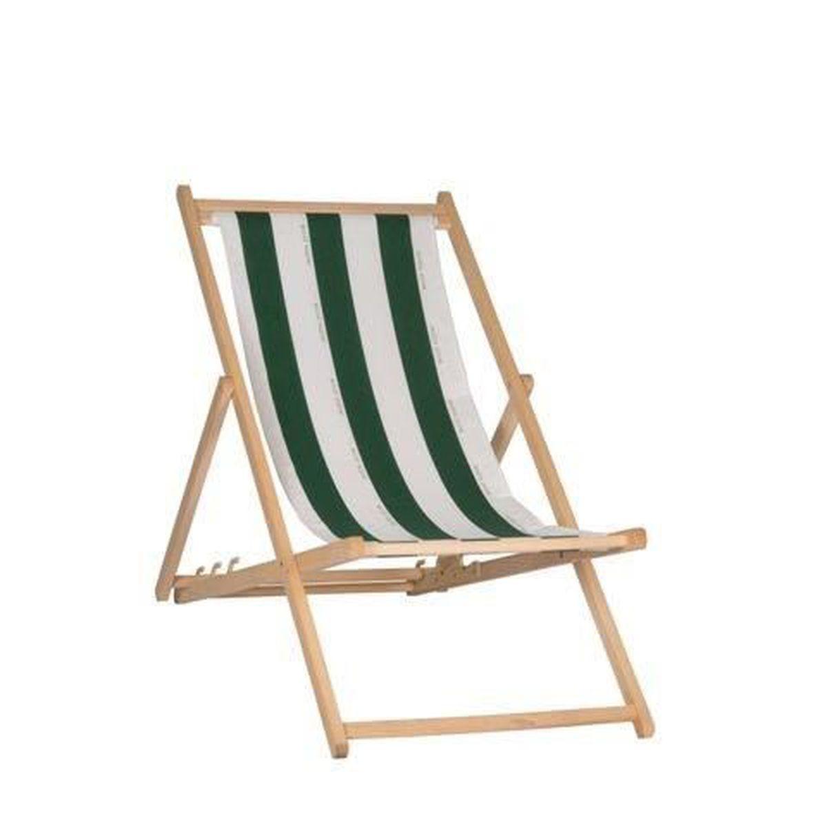 Chilienne pliante multiposition en coton cancale achat for Chaise longue pliante bois