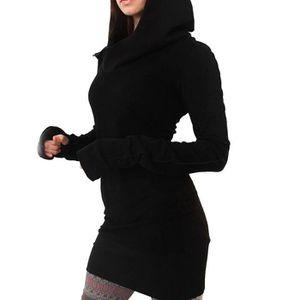 ROBE Femme Fashion Robe A Capuche Manches Longues
