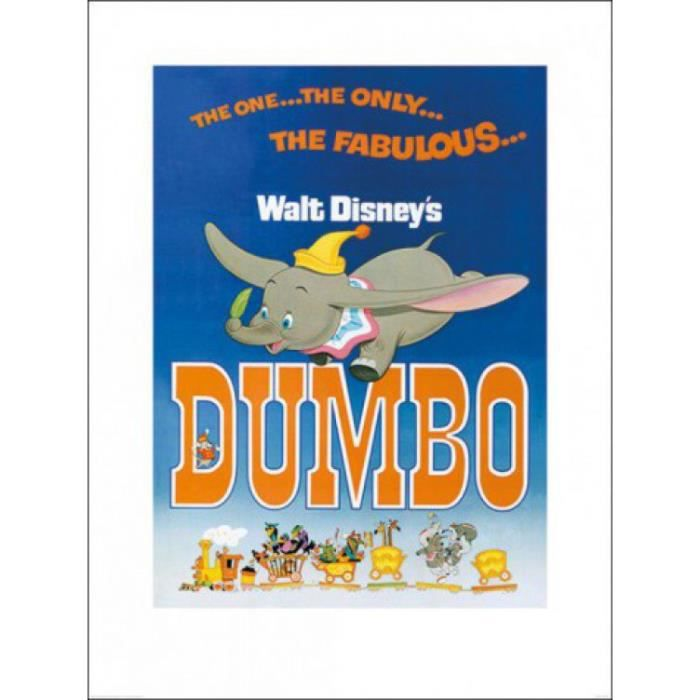 dumbo poster reproduction the fabulous 80 x 60 cm achat vente affiche cdiscount. Black Bedroom Furniture Sets. Home Design Ideas
