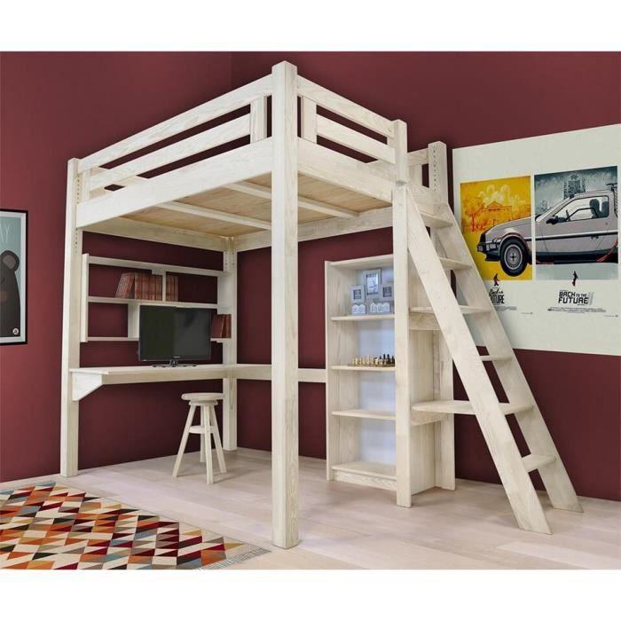 Lit mezzanine alpage bois chelle hauteur r glable teint blanc 120x200 - Echelle mezzanine bois ...