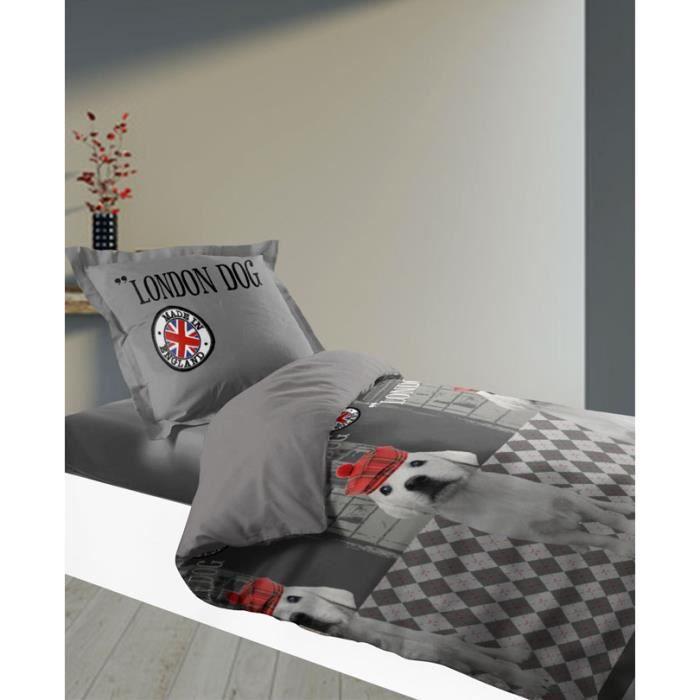 housse de couette 140 x 200 cm taie london achat vente housse de couette cdiscount. Black Bedroom Furniture Sets. Home Design Ideas