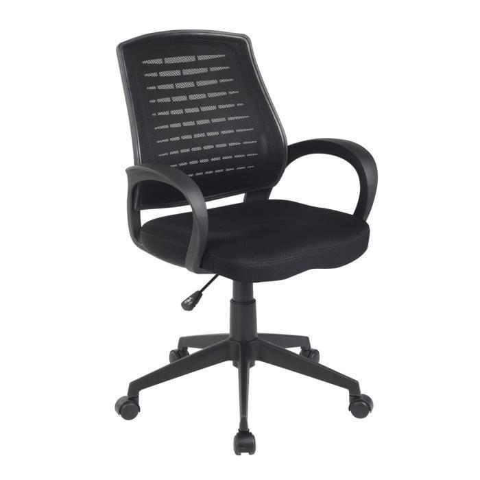 Chaise de bureau noir 5 roulettes dimensions achat vente chaise de bu - Chaise de bureau cdiscount ...