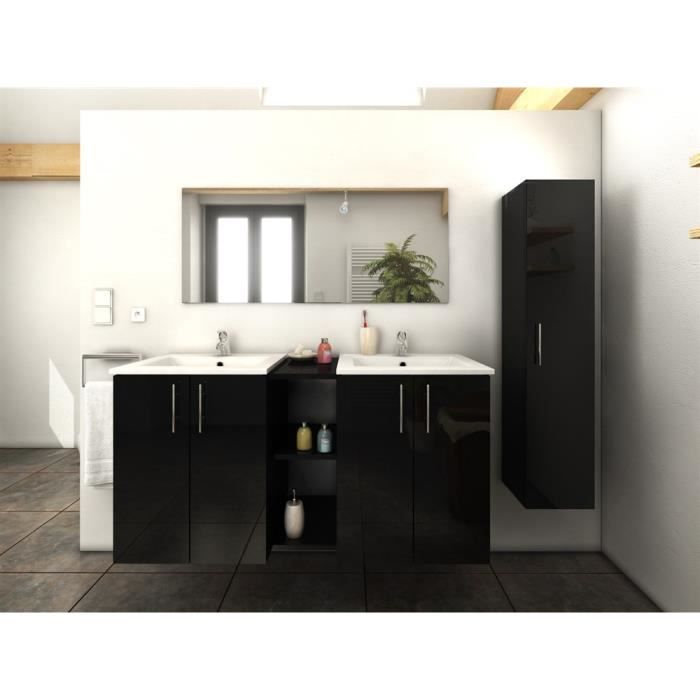 Meuble de salle de bains 120cm 1 colonne tina noir mg - Hera ensemble salle de bain simple vasque 120 cm ...