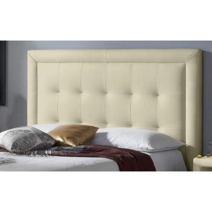 t te de lit pu square couleur beige mesure lit de 120 cm de large achat vente t te de. Black Bedroom Furniture Sets. Home Design Ideas