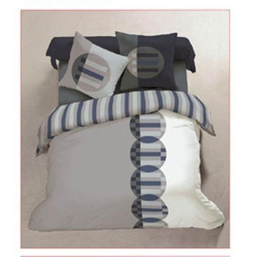 Parure de lit flanelle 140 x 190 cm marine gris achat - Parure de lit en flanelle 2 personnes ...
