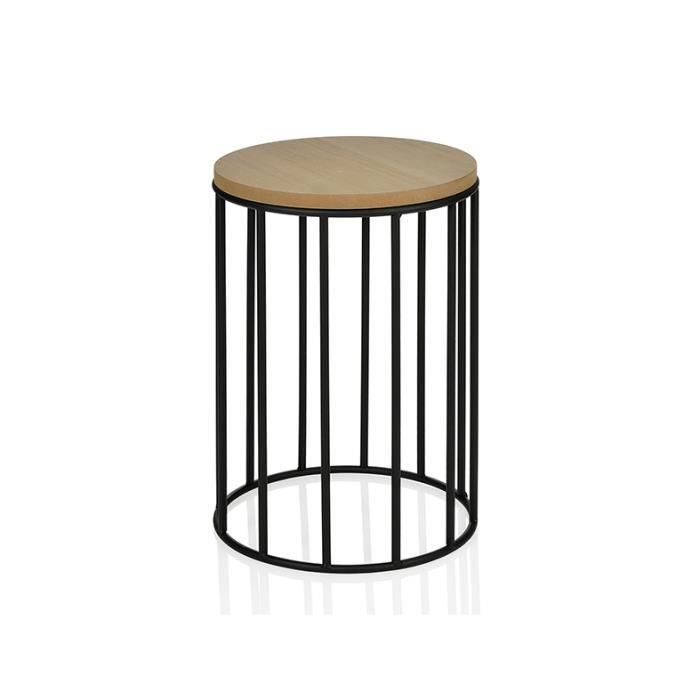 Table basse ronde m tal et pin 28 cm achat vente for Table basse ronde metal
