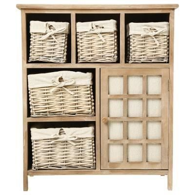 meuble en bois 5 tiroirs paniers en osier avec housses 1 porte achat vente commode. Black Bedroom Furniture Sets. Home Design Ideas