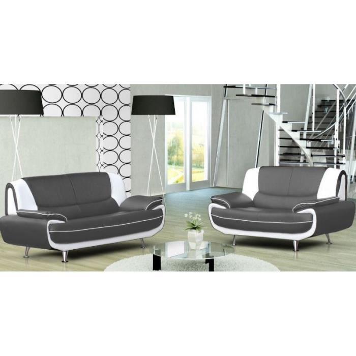 ensemble canap 3 2 plces gris et blanc design muza. Black Bedroom Furniture Sets. Home Design Ideas