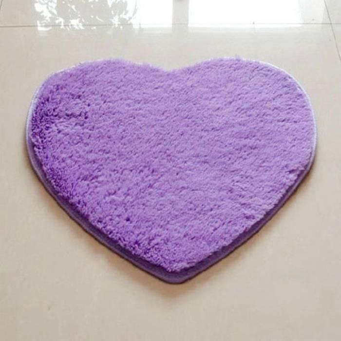 tapis de bain 50cm 60cm violet cordiforme velout poilu mode tapis de salon tapis de salle. Black Bedroom Furniture Sets. Home Design Ideas