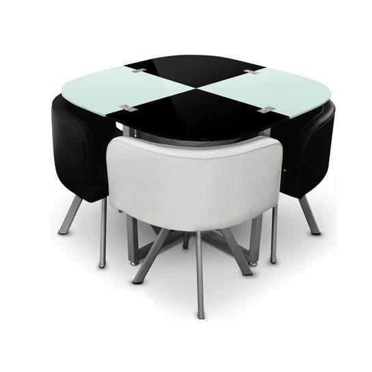 Table avec chaises encastrables maison design for Table haute avec chaises encastrables