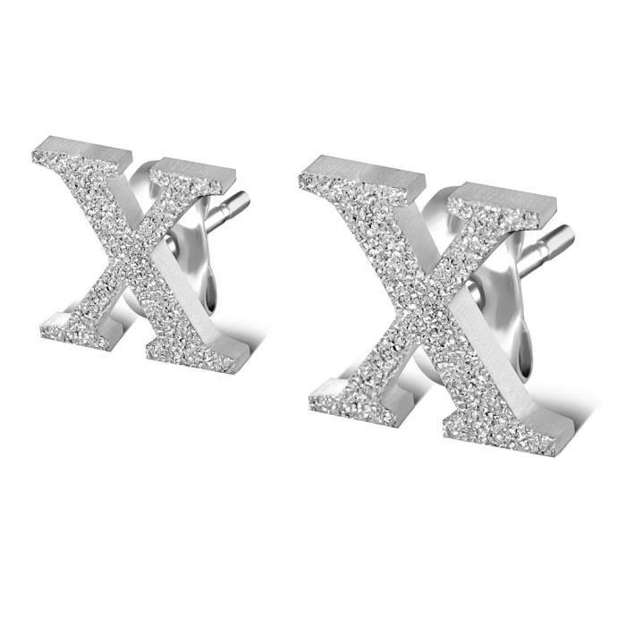 boucle doreille femme lettre x brillante en acier achat vente boucle d 39 oreille boucle. Black Bedroom Furniture Sets. Home Design Ideas
